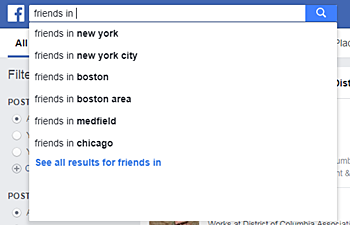 Facebook search for friends in
