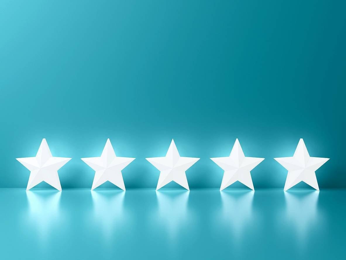 five 5 stars on blue